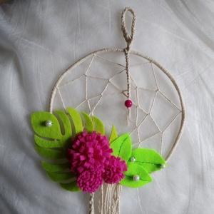 rózsaszín leveles II natúr fehér álomfogó virágokkal, levelekkel ~ női, kislány szobadísz, Otthon & Lakás, Dekoráció, Álomfogó, Csomózás, Mindenmás, Álomfogó – ez a tárgy megvéd a rossz szellemektől, őrzi álmodat;\nugyanakkor, ha jó alvók vagyunk, pu..., Meska