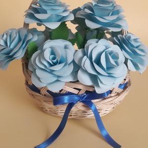 Kék rózsa Kosárban, Otthon & lakás, Dekoráció, Csokor, Papírművészet, Szeretnél egy ilyen egyedi Rózsacsokrot az asztalodra, az otthonodban, vagy ajándékba adni esküvőre..., Meska