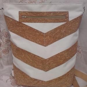 Parafa mintás, csíkos hátizsák és oldaltáska, Táska, Hátizsák, Válltáska, oldaltáska, Varrás,   Parafa mintás csíkok rávarrásával készült ez a hátizsákként és oldaltáskaként is használható tásk..., Meska