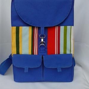 Kék,csíkos hátizsák,hátitáska, Táska, Hátizsák, Válltáska, oldaltáska, Varrás,  Vízálló anyagból gyöngyvászon és bútorvászonból készült bélelt hátizsák. Merevítő közbéléssel és v..., Meska