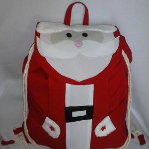 Mikulás hátizsák,ajándékzsák,, Otthon & Lakás, Karácsony & Mikulás, Mikulás, Varrás, Patchwork, foltvarrás, \nEbben a hátizsákban ami ajándékzsák is sok szép ajándék fér el :).Elején zsebbel készül , bélelt a ..., Meska