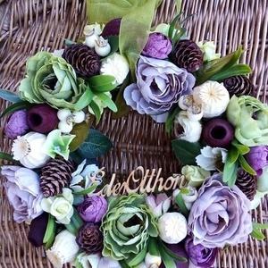 Őszi virágkoszorú, Otthon & lakás, Lakberendezés, Ajtódísz, kopogtató, Koszorú, Virágkötés, Selyemvirágok,tobozok,bogyók felhasználásával készítettem a koszorút szalma alapra.Organza szalaggal..., Meska