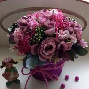 Lila virágkosár,asztaldísz (Tearozsa19) - Meska.hu