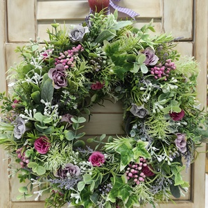 Tavaszi virágkoszorú,ajtódísz(lila), Otthon & Lakás, Dekoráció, Ajtódísz & Kopogtató, Virágkötés, Ezt a kedves virágkoszorút rengeteg zöld(mű), és apró selyemvirágok felhasználásával készítettem.Sza..., Meska