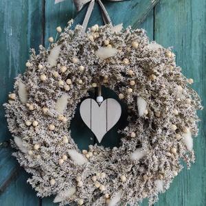 Natúr sóvirág koszorú,ajtódísz, Otthon & Lakás, Dekoráció, Ajtódísz & Kopogtató, Virágkötés, Szárazvirágból kötöttem a koszorút,a natúr,vidéki stílus kedvelőinek.Egyedi,kedves dekorációja lehet..., Meska