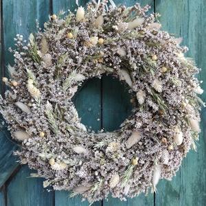 Natúr szárazvirág koszorú,ajtódísz, Otthon & Lakás, Dekoráció, Ajtódísz & Kopogtató, Virágkötés, Rengeteg sóvirág,rezgő,len, fénymag,lagurus és búza felhasználásával kötöttem a koszorút a natúr,vid..., Meska