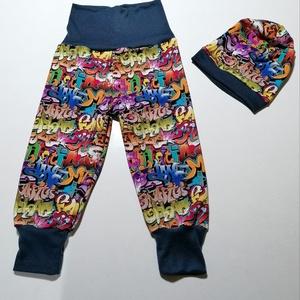 Graffiti mintás nadrág +sapka, Ruha & Divat, Babaruha & Gyerekruha, Nadrág, Varrás, Graffiti mintás futterből készült nadrág, melyhez hozzá illő sapkát adok.\nDereka magasitott az alja ..., Meska
