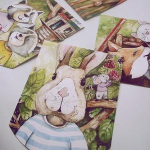 Girland, Dekoráció, Otthon & lakás, Kép, Gyerek & játék, Gyerekszoba, Fotó, grafika, rajz, illusztráció, Akvarellel készült girlandon mesebeli állatok a szereplők. Élénk színekkel, apró részletekkel dolgoz..., Meska