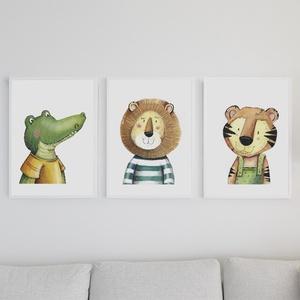 Gyerekszoba dekor, Gyerek & játék, Gyerekszoba, Baba falikép, Fotó, grafika, rajz, illusztráció, A/4 méretű nyomatok, 3 darabos kollekció saját grafikával.\nA nyomtatás kemyény kartonra (300gr) kész..., Meska