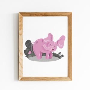 Doroti a rózsaszín elefánt, Képzőművészet, Otthon & lakás, Illusztráció, Gyerek & játék, Gyerekszoba, Fotó, grafika, rajz, illusztráció, Doroti digitális grafikával készült elefánt. Nagyszerű dekoráció lehet egy csajos gyerekszobában! \n\n..., Meska