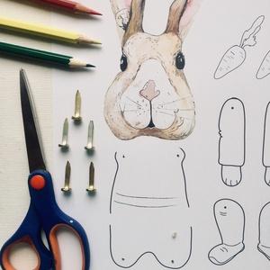 Nyuszi-DIY báb, Játék, Gyerek & játék, Készségfejlesztő játék, Báb, Fotó, grafika, rajz, illusztráció, Kreatívkodjatok együtt a gyerekekkel.\nKészítsetek nyuszit!\nA megvásárolt mintát PDF formátumban küld..., Meska