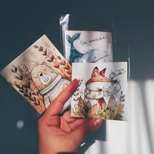 Képeslap, Otthon & lakás, Naptár, képeslap, album, Képeslap, levélpapír, Ajándékkísérő, Fotó, grafika, rajz, illusztráció, Kézzel festett képeslapok\nMéretük: 9x9cm, nyitva: 9x18cm \nBelseje írható\nMindegyikből 1db készült..., Meska