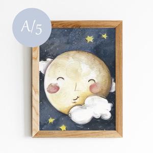 Hold - A5 mértű, Otthon & lakás, Lakberendezés, Falikép, Képzőművészet, Illusztráció, Festmény, Akvarell, Fotó, grafika, rajz, illusztráció, Festészet, Akvarellel készült festmény másolata.\nNagyszerű dekoráció lehet egy gyerekszobában!\n\nAmit tudni kell..., Meska