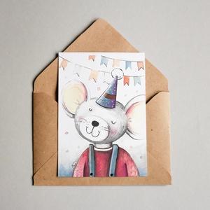 Születésnapi képeslap, Képeslap & Levélpapír, Papír írószer, Otthon & Lakás, Festészet, Fotó, grafika, rajz, illusztráció, A6 méretű képeslap / print\nAz eredeti illusztráció akvarell technikával készült. A nyomat matt, 250 ..., Meska
