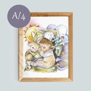 Print , Gyerek & játék, Gyerekszoba, Baba falikép, Fotó, grafika, rajz, illusztráció, A4 méretű print.\nAranyos ajándék lehet babalátogatóba, vagy kisgyermek szobába. \n\nA keret nem tartoz..., Meska