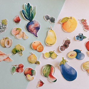 Gyümölcs, zöldség matrica, Falmatrica & Tapéta, Dekoráció, Otthon & Lakás, Fotó, grafika, rajz, illusztráció, Akvarellel festett gyümölcsök, zöldségek.\nEgy csomagban 15 db kisebb-nagyobb matrica található.\n\nSzá..., Meska