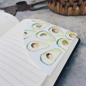 Avokádós könyvjelző , Egyéb, Otthon & lakás, Naptár, képeslap, album, Könyvjelző, Fotó, grafika, rajz, illusztráció, Papírművészet, Akvarellel festett könyvjelző\nMinden egyes részlete kézzel készült.\nA könyvjelző mindkét oldala mint..., Meska