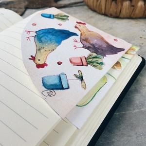 Vidéki hangulat -könyvjelző, Otthon & lakás, Naptár, képeslap, album, Könyvjelző, Ajándékkísérő, Egyéb, Fotó, grafika, rajz, illusztráció, Papírművészet, Akvarellel festett könyvjelző\nMinden egyes részlete kézzel készült.\nA könyvjelző mindkét oldala mint..., Meska
