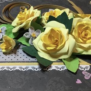 Esküvői quilling kép, sárga rózsákkal, Dekoráció, Otthon & lakás, Kép, Esküvő, Nászajándék, Famegmunkálás, Papírművészet, Eddigi legharmonikusabb alkotásaim egyike, a színek harmoniájához jól illik az kínai gőzölt császárf..., Meska