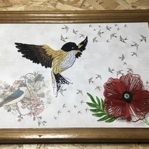 Madar vintage stílusú kép, Dekoráció, Otthon & lakás, Kép, Képzőművészet, Vegyes technika, Famegmunkálás, Papírművészet, A madár és a virág quilling technikával készült. Megrendelésre, egyedi igényeknek megfelelően rendel..., Meska