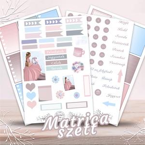 Matrica szett tervezőhöz – Hercegnő, Otthon & lakás, Képzőművészet, Grafika, Illusztráció, Fotó, grafika, rajz, illusztráció, Egyedi, hangulatos matrica szett, melyel igazán színessé varázsolhatod a terveződ.\n\nA szett tartalma..., Meska
