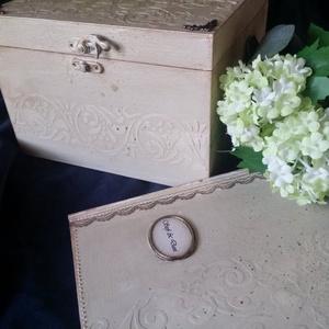 Esküvői pénzes doboz és emlékkönyv, Doboz, Emlék & Ajándék, Esküvő, Könyvkötés, Festett tárgyak, Az emlékkönyv könyvkötő által készített alapanyagból díszített. Esküvői bejegyzéseknek, a vendégek j..., Meska