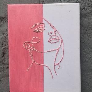 Rózsaszín-fehér hímzett kép, Otthon & lakás, Dekoráció, Dísz, Kép, Festett tárgyak, 20x25 cm nagyságú vászonra, rózsaszín akrilfestékkel készült kép, rózsaszín és fehér fonallal hímzet..., Meska