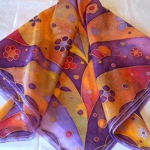 Lila-narancs virágok kézzel festett selyemkendő (Tercsill) - Meska.hu