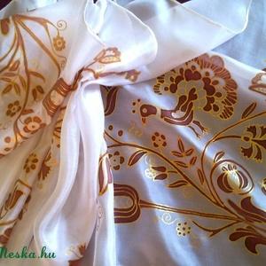 Rábaközi hímzés motívumaival, kézzel festett selyemsál (Tercsill) - Meska.hu