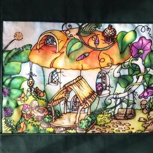 Manólak - csészekuckó kézzel festett selyem falikép, Dekoráció, Otthon & lakás, Kép, Képzőművészet, Lakberendezés, Selyemfestés, Varrás, Színes, mesés egyedi, kézzel festett selyemkép saját ötlet, elképzelés alapján. Belső mesevilágomból..., Meska