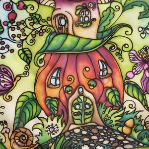 Tündértorony - tündérmese kézzel festett selyemkép, ablakba, falra akasztható, Gyerek & játék, Gyerekszoba, Dekoráció, Otthon & lakás, Kép, Selyemfestés, Színes, mesés kézzel festett selyemkép saját ötlet alapján. Kedves, vidám tündéres hangulat gyereksz..., Meska