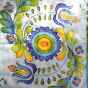 Jászsági hímzés mintával, kézzel festett selyemsál kék árnyalatokkal, Magyar motívumokkal, Táska, Divat & Szépség, Női ruha, Ruha, divat, Selyemfestés, 40x150cm méretű kézzel festett selyemsál. Az összegyűjtött jászsági motívumokból, hímzésekből saját ..., Meska