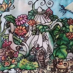 Manólak - kannácska kézzel festett selyemkép, Otthon & Lakás, Dekoráció, Kép & Falikép, Selyemfestés, Varrás, Színes, mesés egyedi, kézzel festett selyemkép saját ötlet, elképzelés alapján. Belső mesevilágomból..., Meska