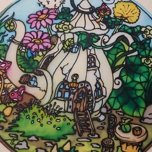 Kanna-lak kézzel festett selyem ablakkép, Otthon & lakás, Dekoráció, Kép, Selyemfestés, 30 cm átmérőjű drótra feszített 100% selyem kézzel festett mandala jellegű ablakkép, szalag felfügge..., Meska