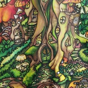 Otthonfa selyemkép, kézzel festett egyedi falikép, Művészet, Textil, Egyéb, Selyemfestés, Varrás, Színes, mesés, játékos, egyedi, kézzel festett selyemkép, sok apró részlettel, madárral, pocokkal, k..., Meska
