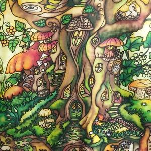 Otthonfa selyemkép, kézzel festett egyedi falikép, Otthon & lakás, Dekoráció, Kép, Selyemfestés, Varrás, Színes, mesés, játékos, egyedi, kézzel festett selyemkép, sok apró részlettel, madárral, pocokkal, k..., Meska