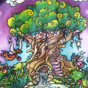 Tündérkert selyemkép, kézzel festett egyedi falikép, Művészet, Textil, Egyéb, Selyemfestés, Varrás, Színes, mesés, játékos, egyedi, kézzel festett selyemkép, tündérekkel, manókkal, kicsi kerttel, házi..., Meska