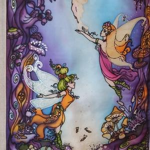 Tündértitok kézzel festett selyem falikép, Dekoráció, Otthon & lakás, Kép, Képzőművészet, Lakberendezés, Selyemfestés, Varrás, Színes, mesés, varázsos, tündéres egyedi, kézzel festett selyemkép saját ötlet, rajz és elképzelés s..., Meska