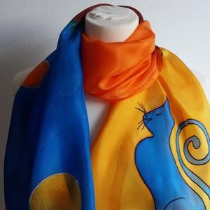 Kék-narancs cicás selyemsál gőzölős technikával, Táska, Divat & Szépség, Ruha, divat, Kendő, Selyemfestés, 40x150 cm méretű kézzel festett selyem sál, gőzzel fixálva.  A technikának köszönhető vibráló, ragyo..., Meska