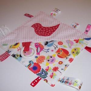 Színes címkerongyi madaras (textilcseppek) - Meska.hu