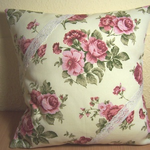 Készlet kisöprés!! Rózsás virágos párna krém színű (textilcseppek) - Meska.hu
