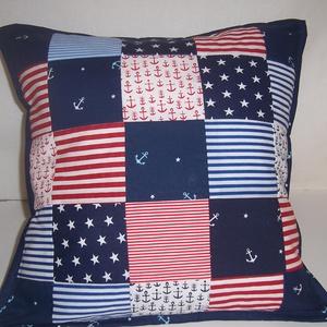 Tengerész patchwork párna (textilcseppek) - Meska.hu