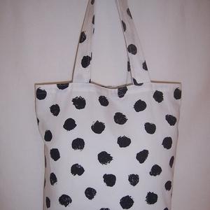 Készlet kisöprés! Fehér fekete mintás táska  (textilcseppek) - Meska.hu