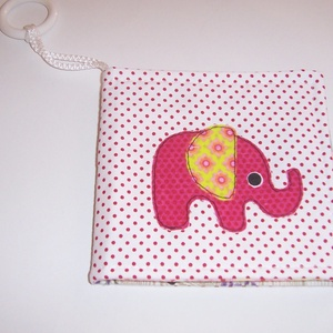 Készlet kisöprés! Textil babakönyv piros elefánt (textilcseppek) - Meska.hu