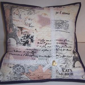 Akció! Párna Párizs képpel 1500,-FT (textilcseppek) - Meska.hu