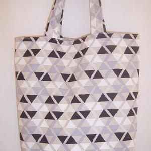 Fekete szürke háromszög mintás táska , Táska, Táska, Divat & Szépség, Válltáska, oldaltáska, Szatyor, Gyerek & játék, Varrás, Fekete szürke háromszög mintás vastagabb vászonanyagból készítettem ezt a táskát.\n\nOldalán és alján ..., Meska