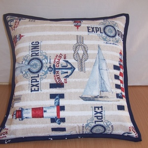 Készlet kisöprés! Színes tengerészmintás párna  (textilcseppek) - Meska.hu