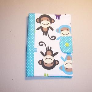 Egészségügyi kis könyv borító textilből majmos  (textilcseppek) - Meska.hu