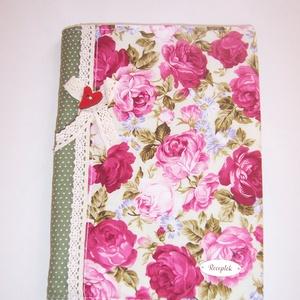 Recept gyűjtő füzet textil borítóval rózsás (textilcseppek) - Meska.hu