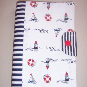 Készlet kisöprés!!  Egészségügyi kis könyv borító textilből tengerész (textilcseppek) - Meska.hu